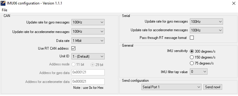 IMU06 Standard Configuration software - Race Technology Ltd
